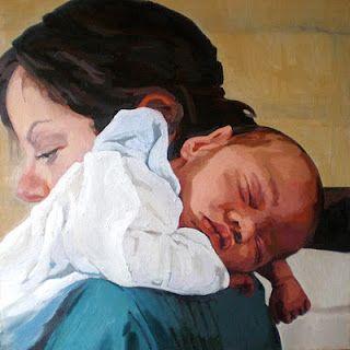 Pintura de madre con su hijo en brazos.